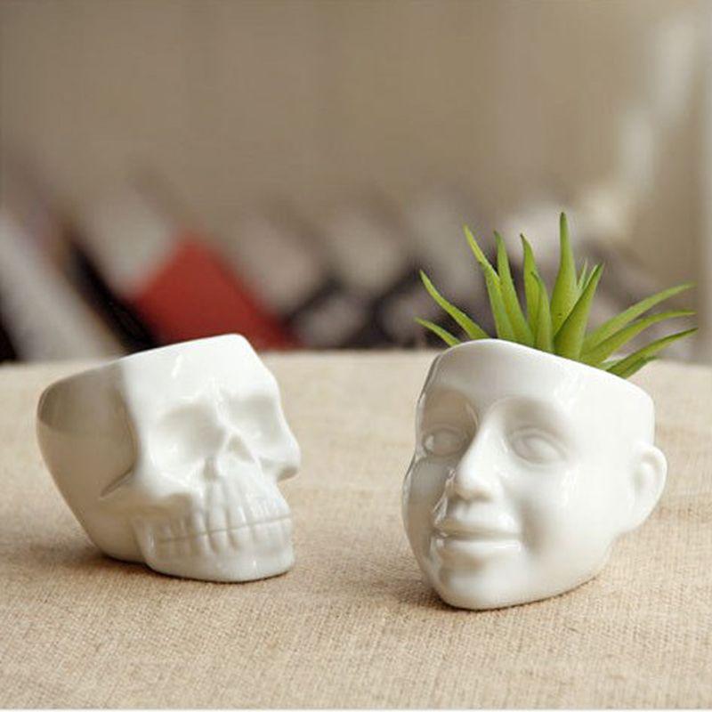 New Zakka white Mini skull and smile ceramic succulent plants pots DIY Mini potted succulents Desktop plant pots decoration