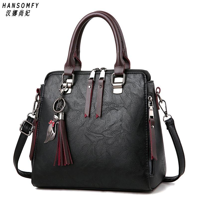 100% echtem leder Frauen handtaschen 2019 Neue Damen Handtasche Frauen Messenger Taschen TotesTassel Designer Umhängetasche Schulter Tasche