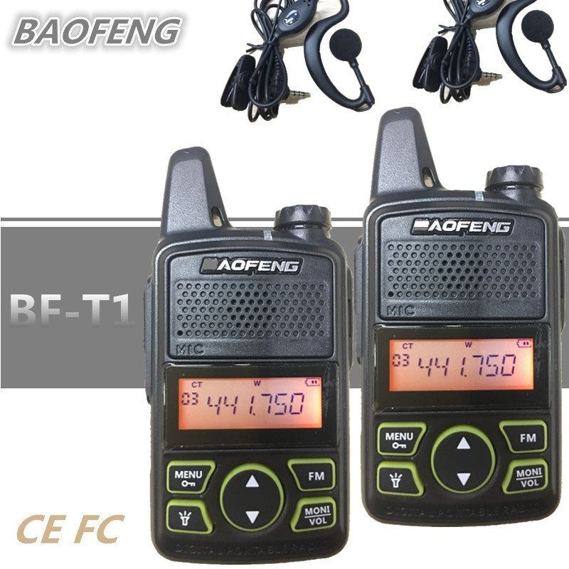 2PCS BAOFENG BF-T1 Mini Kids Toy Walkie Talkie UHF CB Ham Radio BAOFENG T1 HF Transceiver Intercom USB Charger bf t1 Woki Toki