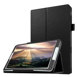 Tablet Case pour Samsung Galaxy Tab E 9.6 T560 T561 Mince pliant Flip Stand Couverture PU Étui En Cuir pour Samsung Tab E T560 + Film + Stylo