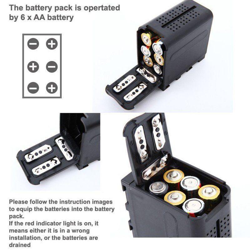 Battery Case Pack BB-6 6pcs AA Batteries Power Work like NP-F970 For LED Video Light Panels For Monitor YN300 II DV-160V