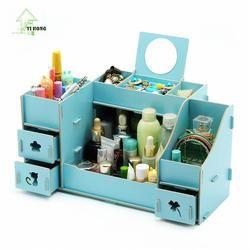 YIHONG Kreatif Diy Kayu kotak Penyimpanan Kosmetik multi-fungsi Kardus Kotak Makeup Organizer Kotak Penyimpanan Kantor Desktop 1007c