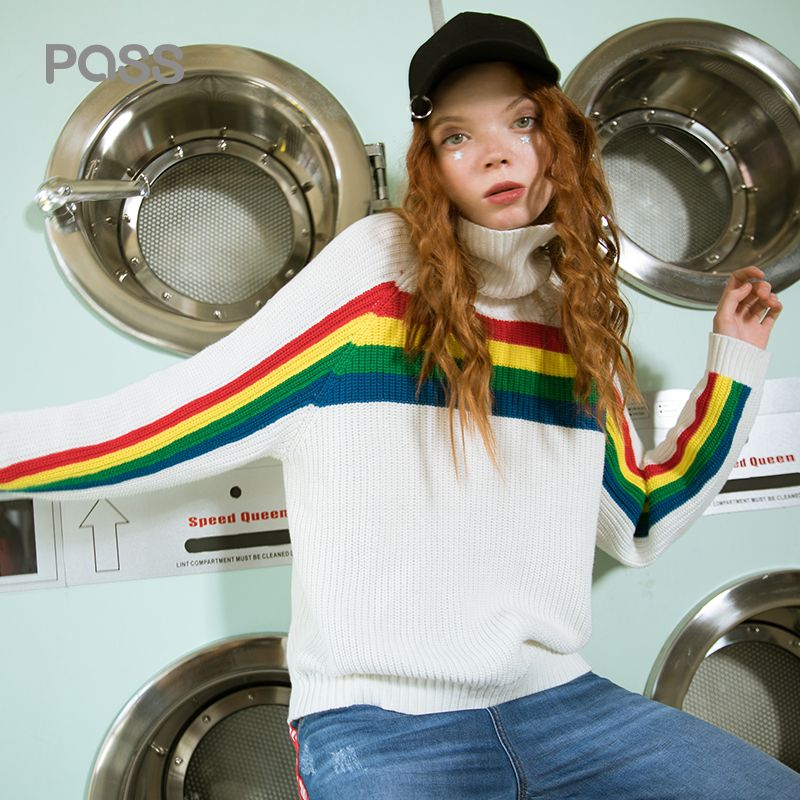 PASS Turtleneck Women Knited Sweater 2018 Autumn Winter Striped Rainbow Sweater and Pullover