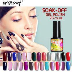WiRinef 27 Couleurs 8 ml Pur Semi-Permanent Nail Gel Polish UV Led Laque Hybride Long Lasting Gel UV Vernis À ongles