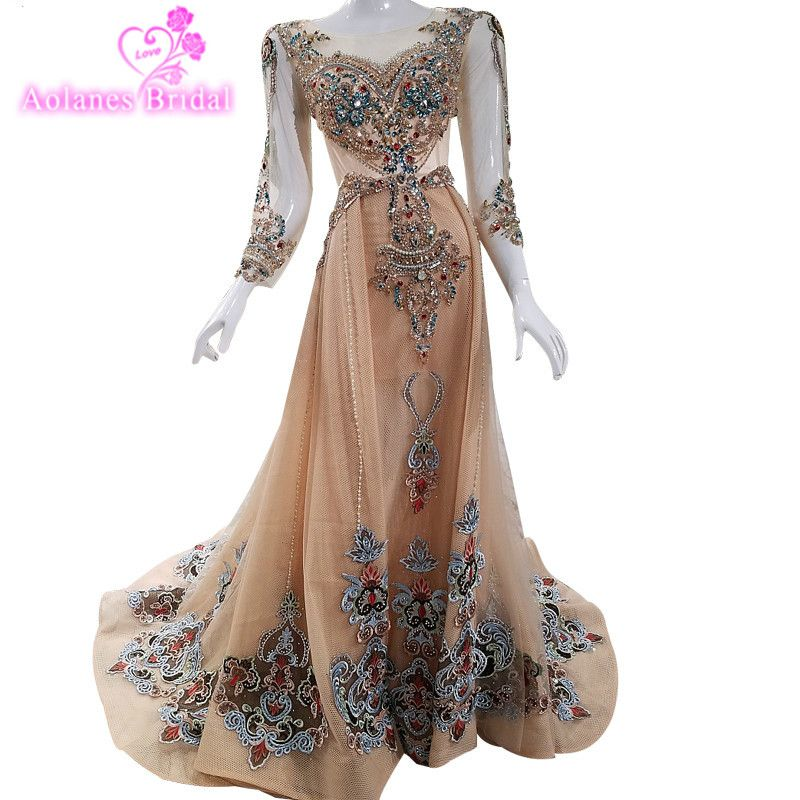 High-end Luxury Colorde Diamond Sexy Evening Dresses 2018 Long Sleeves Fashion Beach Evening Gwons Robe De Soiree Turkish Dress