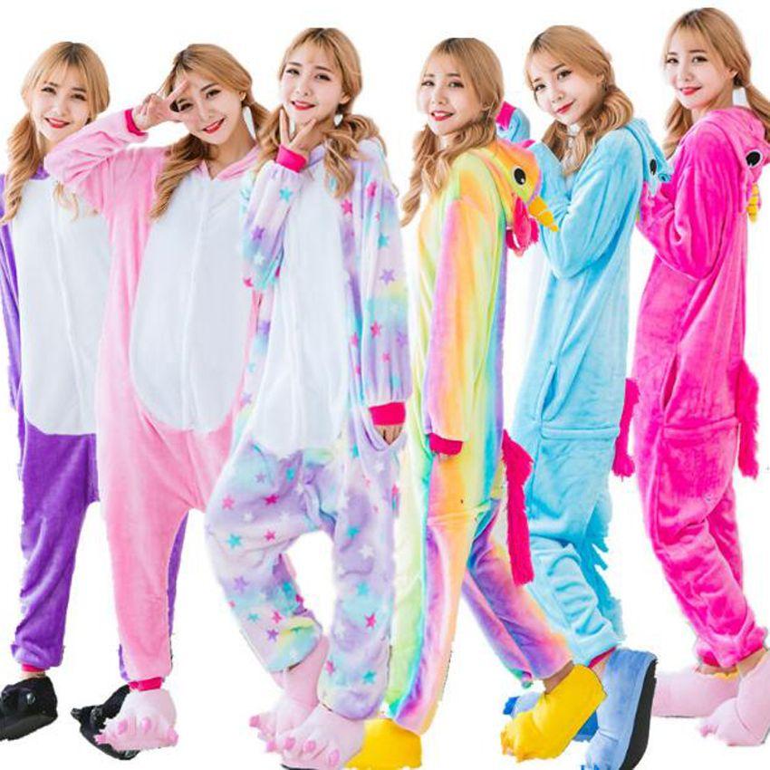 Männer pyjamas Nachtwäsche pyjama-sets Regenbogen einhorn-stich Panda Pikachu für erwachsene Tier Pyjamas Cartoon Flanell Hoodie Mit Kapuze