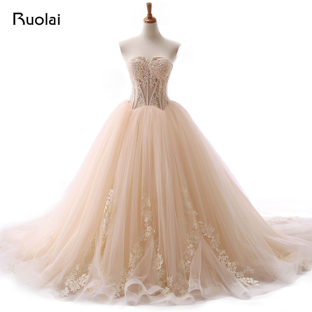 Cheap Real Photo Champagne Wedding Dresses 2017 Ball Gown Lace Applique Beaded Tulle Bridal Gown Long Vestido de Novia ASAW43