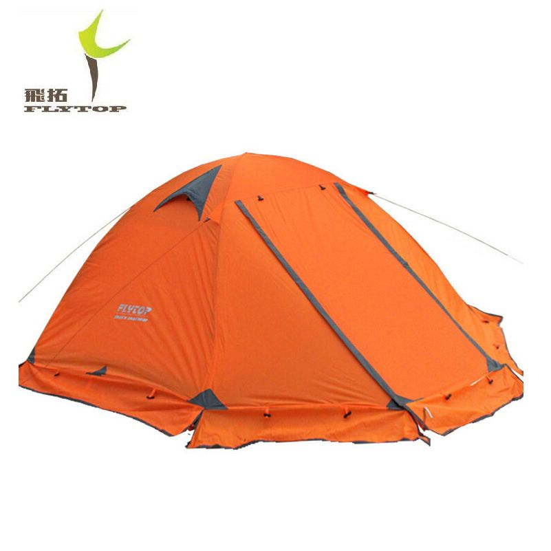FLYTOP Outdoor <font><b>Camping</b></font> Tent For Rest Travel 2 Persons 3 Double Layer Windproof Waterproof Winter Professional Camp Tourist Tent
