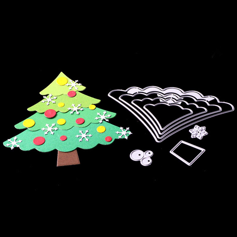 4 stücke Assorted Größen Weihnachten Baum Präge Schneiden Stirbt Schablonen Vorlagen Form für DIY Weihnachten Karte Scrapbooking Album