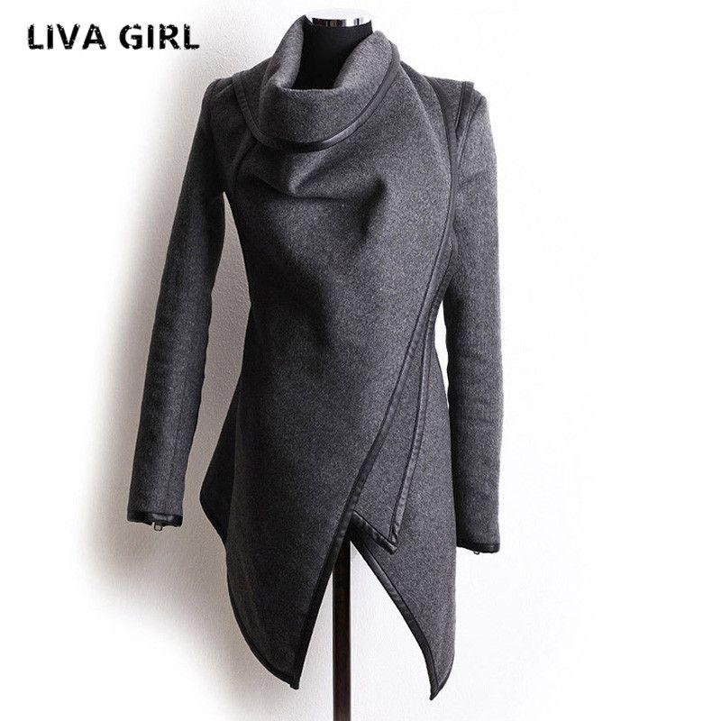 Новый осенний-зимний тренч, пальто Для женщин нерегулярные воротник с лацканами боковой молнии шерстяное пальто Для женщин свободный свите...