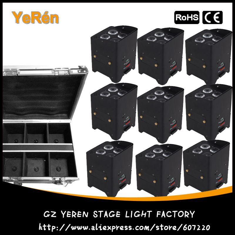 9 pack DMX Wireless Battery Powered LED Par Light RGBWA+UV 6in1 Color Led Wash Light DJ Lights Uplights IRC recmote Control