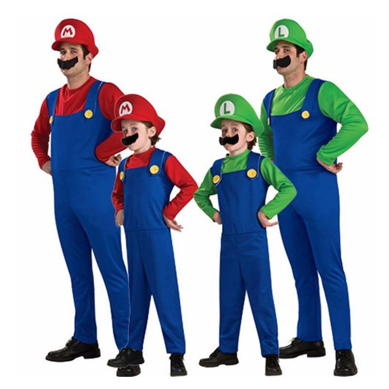 Halloween Super Mario Cosplay Costumes Enfants Hommes Funy Frères Luigi Bros Plombier De Noël Costume Fantaisie Robe
