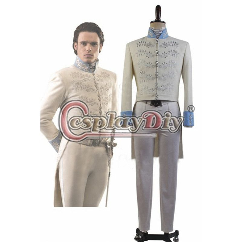 2015 New Film Cinderella Dress Prince Charming Kit Uniform Outfit Costume Adult Men Halloween Party Cosplay Costume