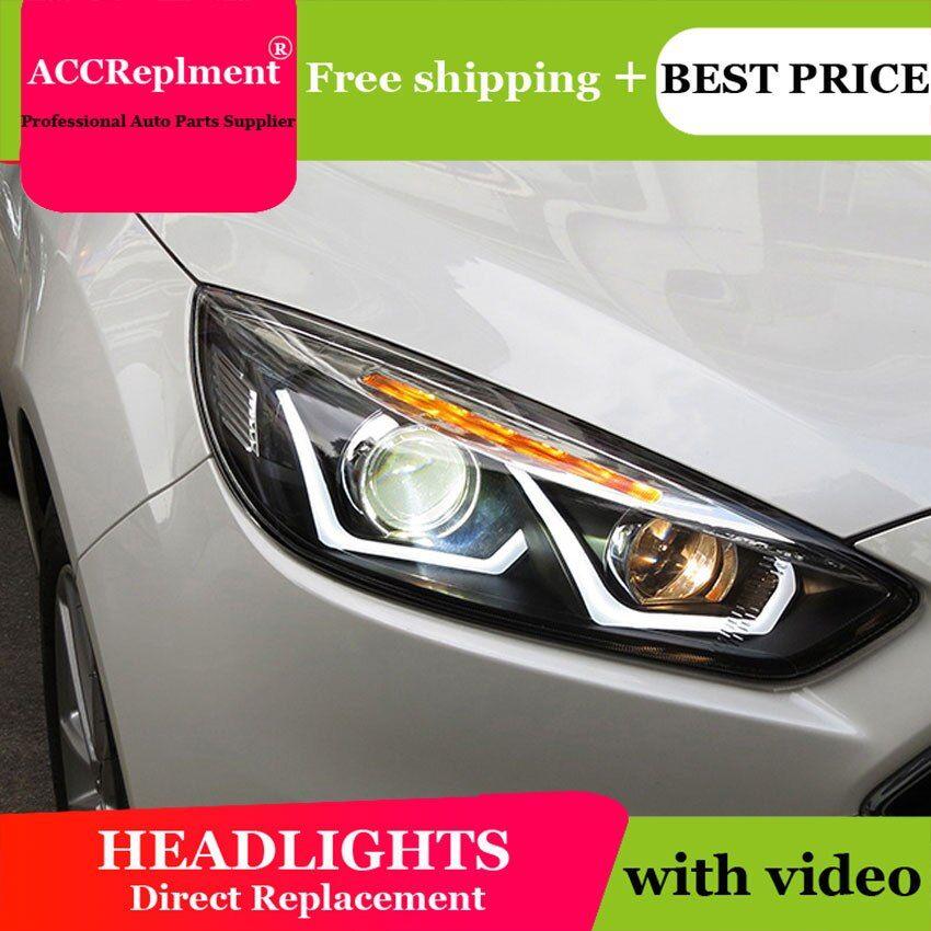 Auto styling Für Ford Focus scheinwerfer U engel augen 2015-2017 ForFord Focus LED licht bar Q5 bi xenon objektiv h7 xenon
