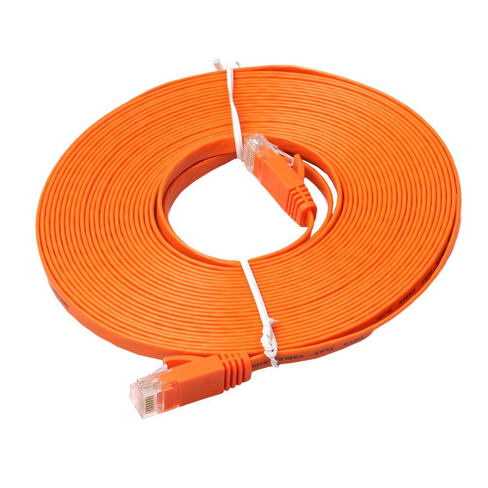 15 M Orange plat RJ45 câble Ethernet CAT6 réseau Internet cordon Patch mener à 1000 Mbps pour PS4 Xbox PC routeur Smart TV