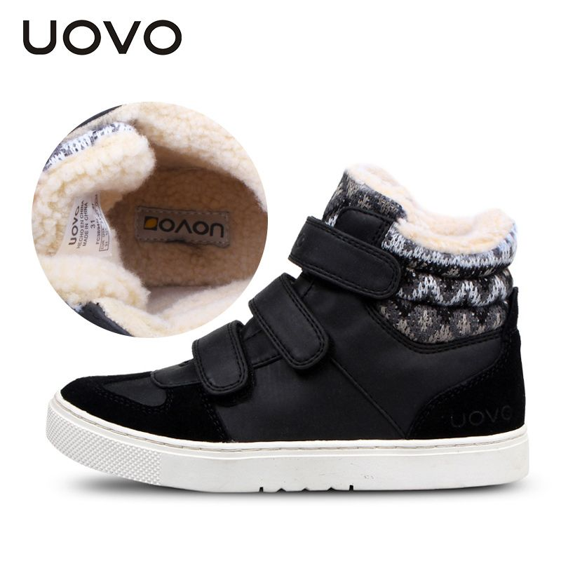 UOVO Brand Winter Sneakers For Kids Fashion Warm Sport Footwear For Children Big Boys And <font><b>Girls</b></font> Casual Shoes Size 30#-39#
