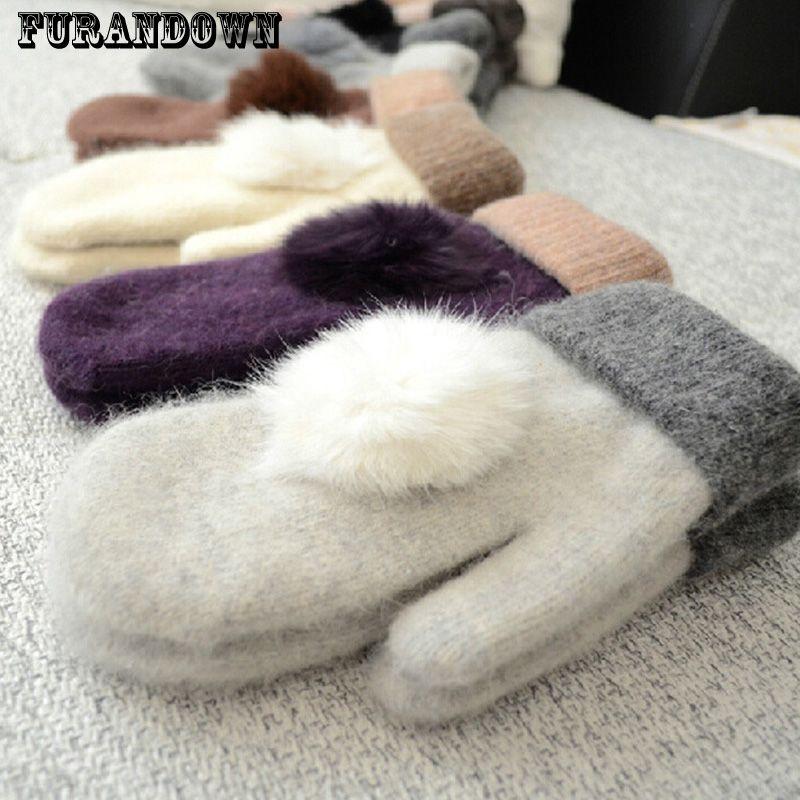 2017 Women Winter Warm Wool Gloves Ladies Rabbit Fur Pompom Mittens Fingerless Gloves guantes mitones