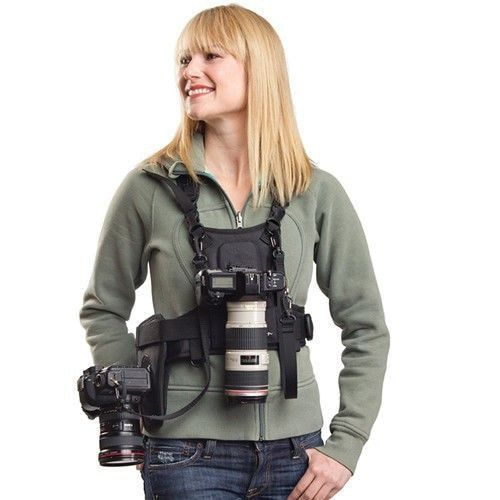 Carrier II Multi Dual 2 Camera Carrying Chest Harness System Vest Quick Strap with Side Holster for Canon Nikon <font><b>Sony</b></font> Pentax DSLR