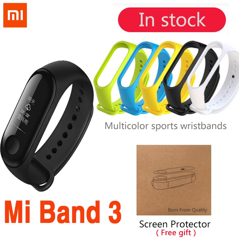 Original Xiaomi Mi Band 3 <font><b>Smart</b></font> Wristband Bracelet Band 3 OLED 128 x 80 Touch Screen battery 110mAh Pulse Heart Rate Step Time