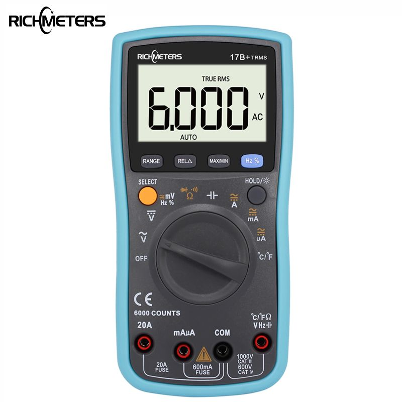 RICHMETES 17B+ 6000 Counts Digital DC Multimeter AC Voltage Current Meter Resistance Diode Capaticance tester