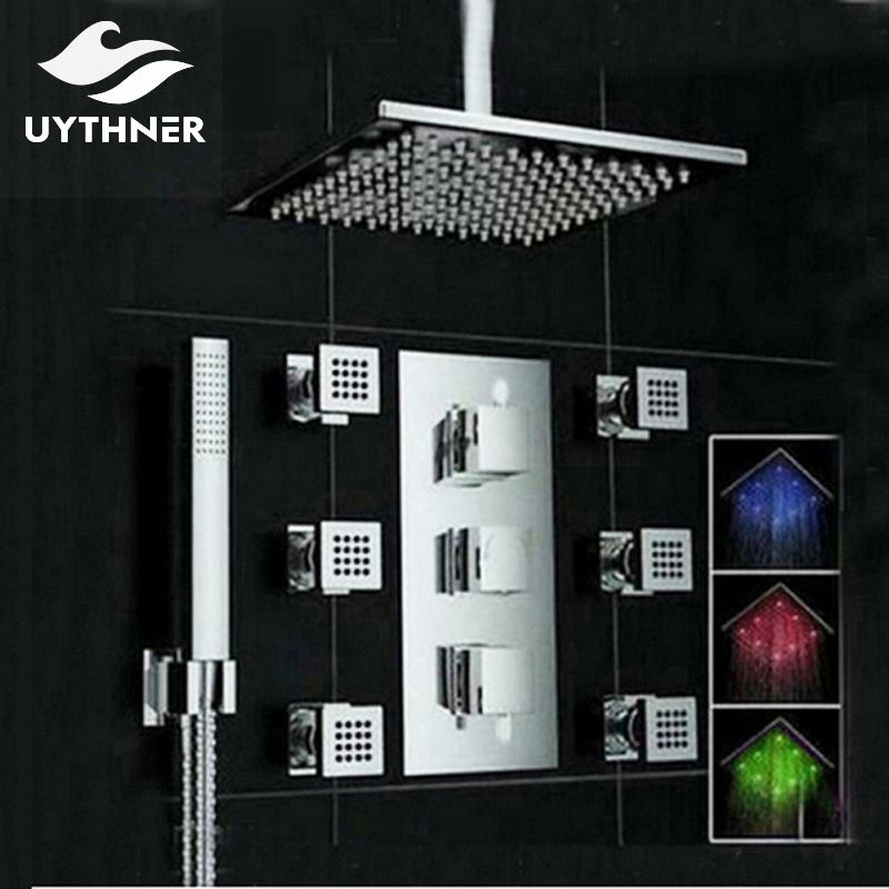 Uythner Ceiling Mounte 3 Color Changing LED Square Rain Shower Head Thermostatic Valve Mixer Tap W/ Massage Jets Shower Sprayer