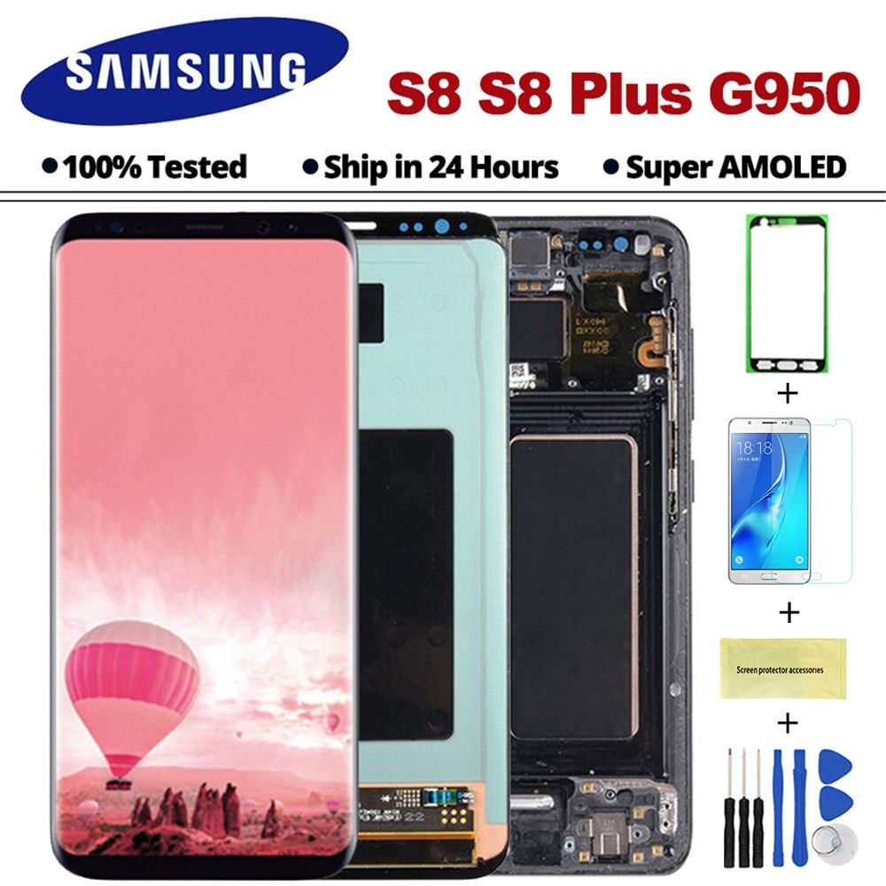 AMOLED S8 Display For Samsung Galaxy S8 LCD Display with frame G950F G950 G955 S8Plus Touch Screen Digitizer Assembly with frame