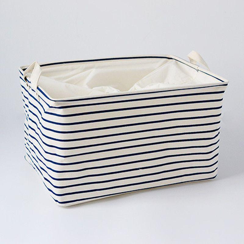 S/M/L Blau Gestreiften Baumwolle Ablagekorb Taschen für Kinder Spielzeug Schmutzige Kleidung Organizer Folding Kleidung Wäschekorb