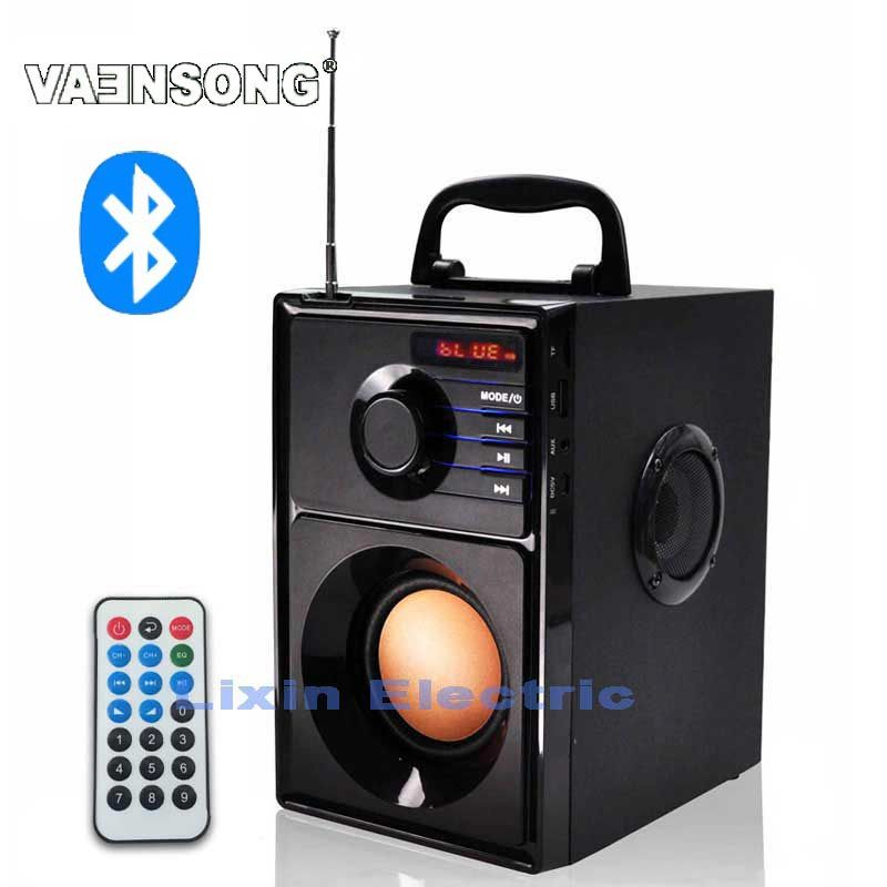 VAENSONG A10 Wooden HiFi Bluetooth Speaker 2.1 Stereo Subwoofer Portable Speakers With FM Radio And USB Column MP3 music player