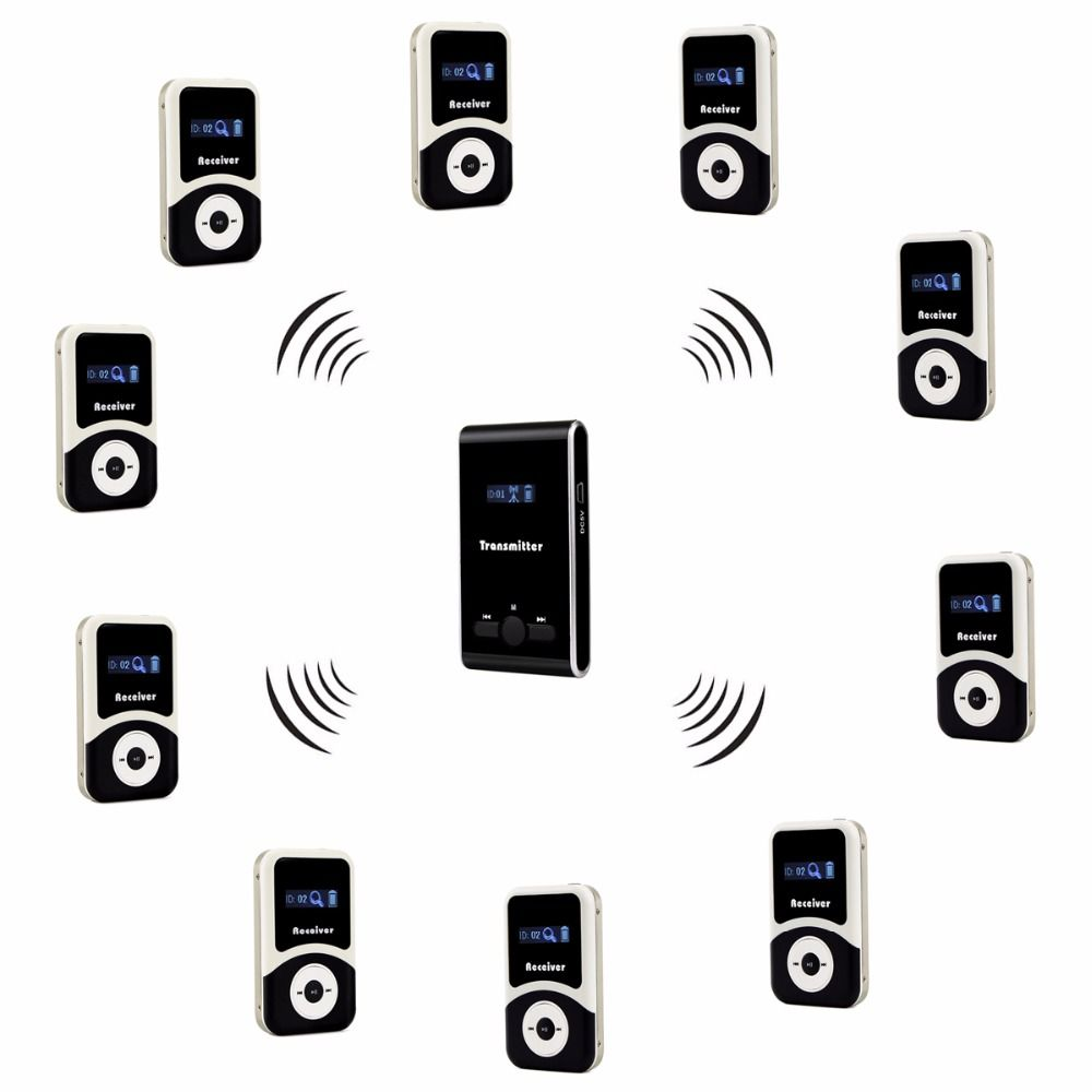 TIVDIO Wireless Tour Guide System 1 Transmitter+10 Receiver+Mic for Tour Guiding Simultaneous Translation Interpretation F4508