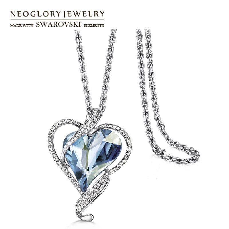 Neoglory autriche cristal & tchèque strass pendentif Long chandail collier romantique amour coeur alliage plaqué pour cadeau à la mode