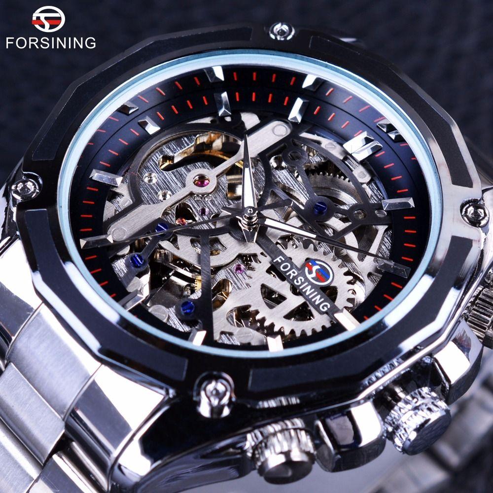 Forsining Mecánico Steampunk Diseño Moda Hombres de Negocios Vestido Reloj Superior de la Marca de Lujo de Acero Inoxidable Automático Esquelético Del Reloj