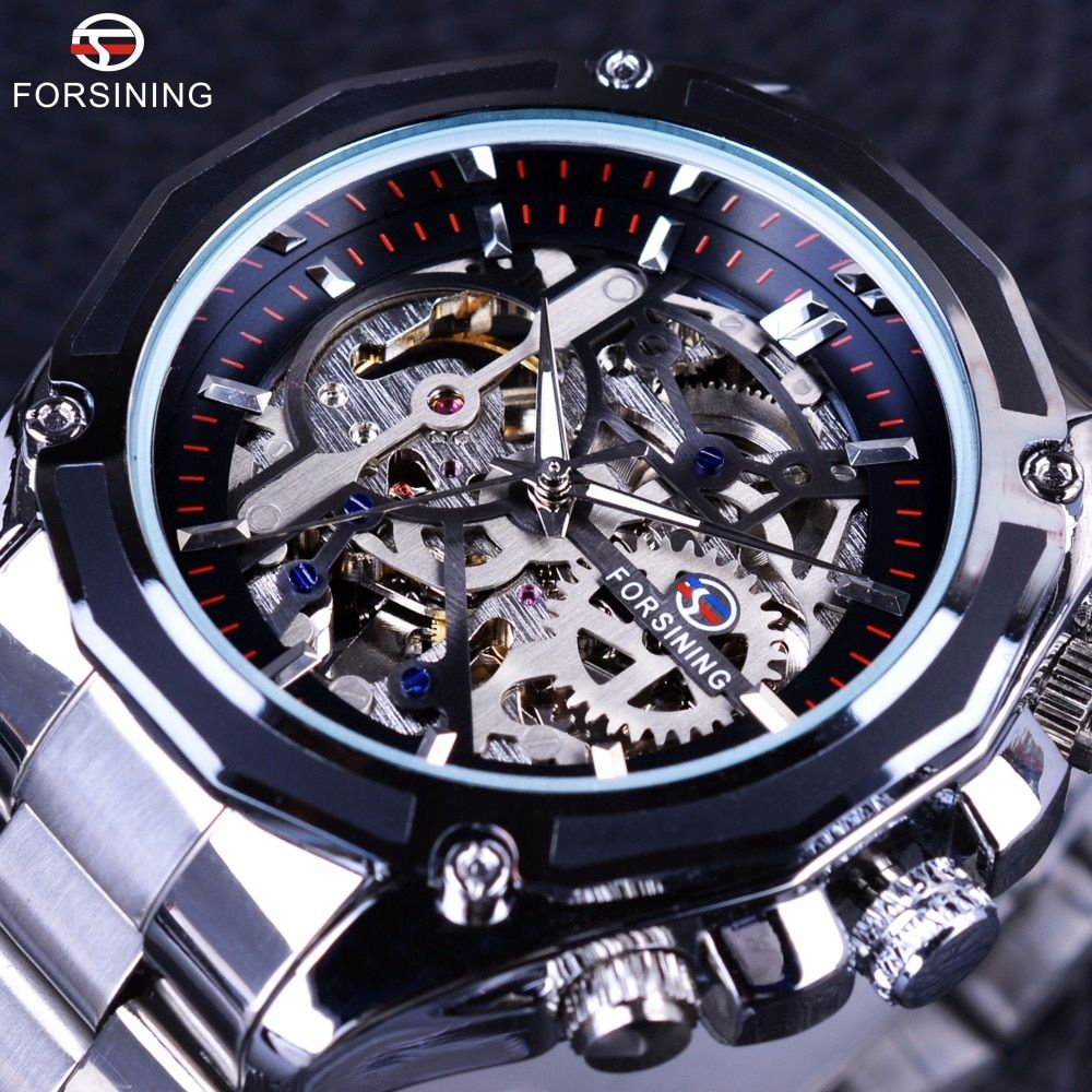 Forsining Mechanical Steampunk Design Fashion Business Dress Men Watch Top Brand Luxury Stainless Steel <font><b>Automatic</b></font> Skeleton Watch