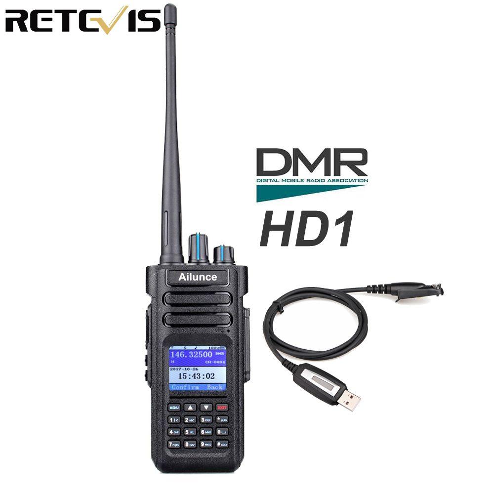 Retevis Ailunce HD1 Dual Band DMR Radio Digital Walkie Talkie DCDM TDMA VHF UHF Ham Radio Hf Transceiver + Program Cable