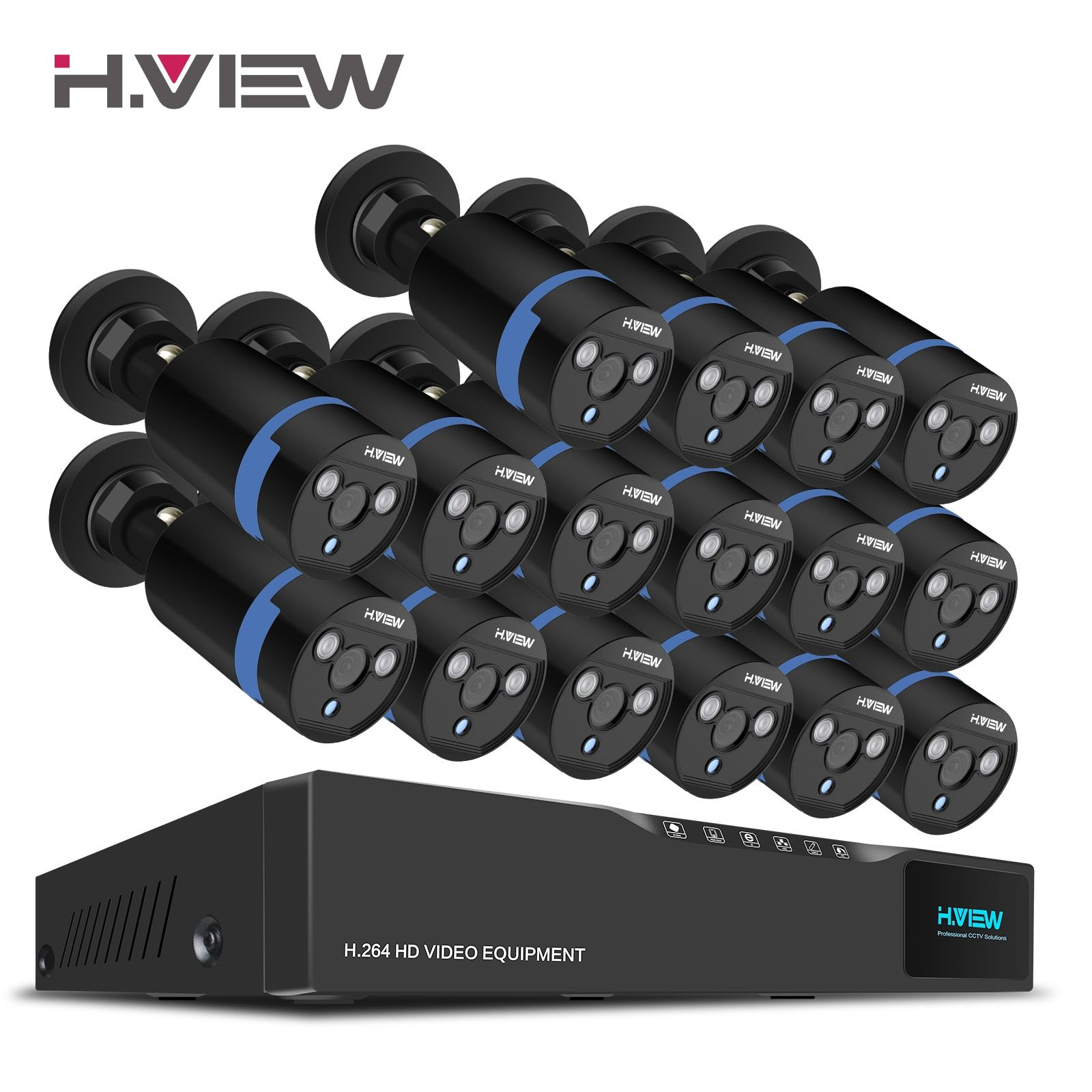H.View 16CH Surveillance System 1080P Outdoor Security Bullet Camera CCTV SYSTEM 16CH CCTV DVR Kit Video Surveillance