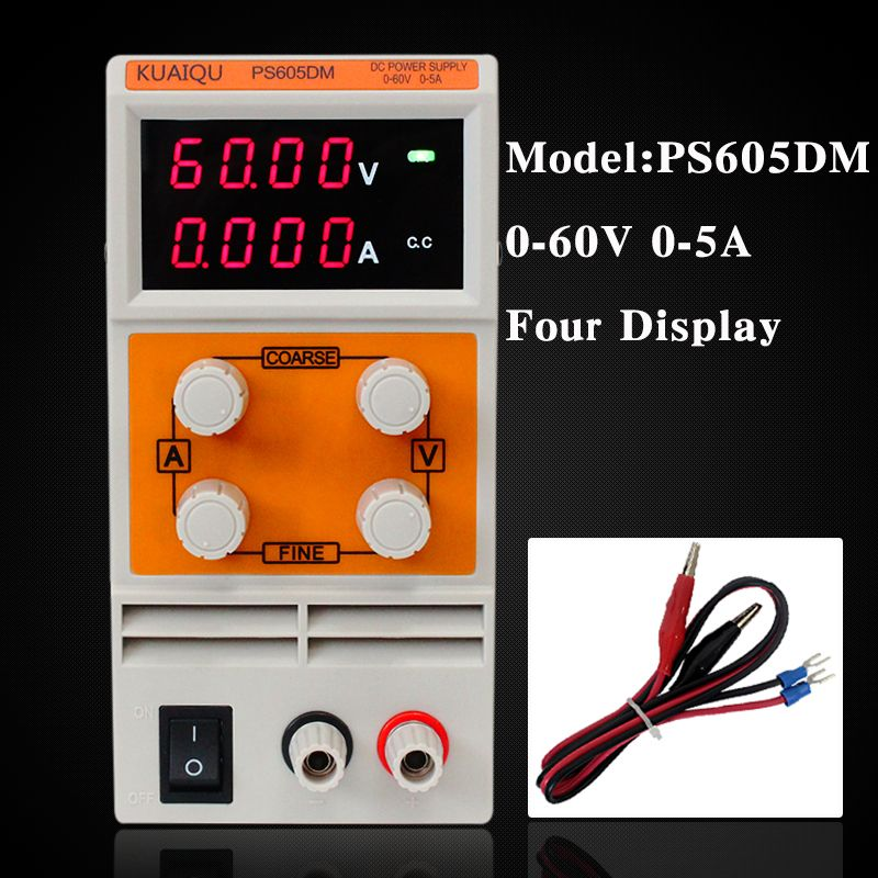 KUAIQU mini DC Power Supply,laboratory Power Supply Digital Variable Adjustable power supply 60V/5A 0.001A Four display PS605DM