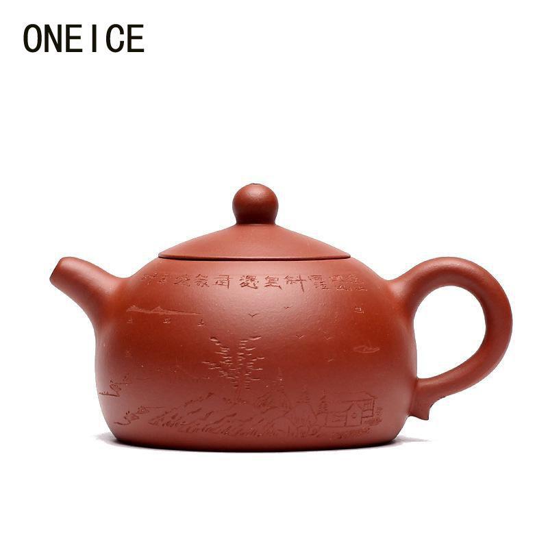 ONEICE Free Shipping Hand made Yixing purple clay Half Moon Pot Qing cement teapot Tea set teapots Author:zhou ting Hi Quality
