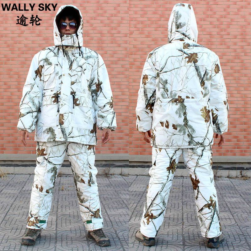 Men Snow Camouflage Hunting Suits Thermo Insulated Jacket & Pant Outdoor Bionic Clothes Ghillie Suit Man Winter Padded Clothes