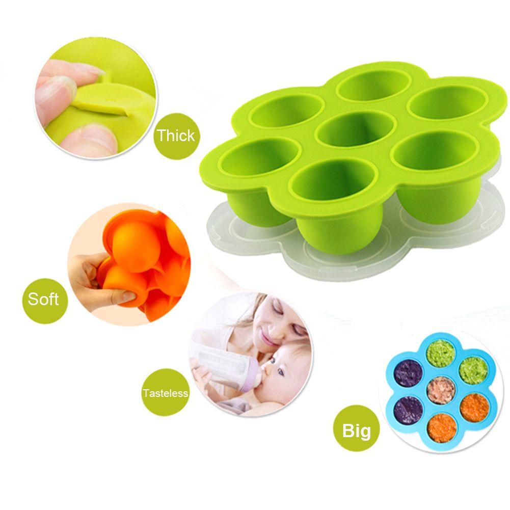 Multifonction Bébé Silicone Alimentaire Alimentation Boîte avec Couvercle de Qualité Alimentaire Silicone Bac À Glaçons Bébé Enfants Alimentaire Bol