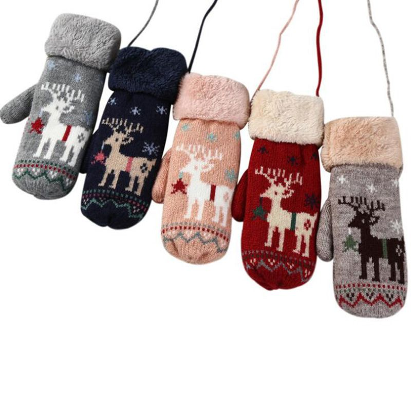 Lovely Ladies Cartoon Deer Wool Knitted Double Thicker Plus Cashmere Mittens Women Winter Warm Full Finger Soft Cute Gloves 20