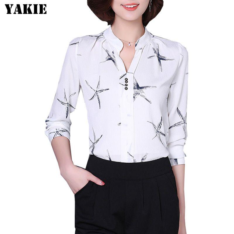 Nouveau 2016 été femmes en mousseline de soie chemise mode décontracté bureau travail dame en mousseline de soie blouses élégant slim grande taille S-XXL femmes chemises