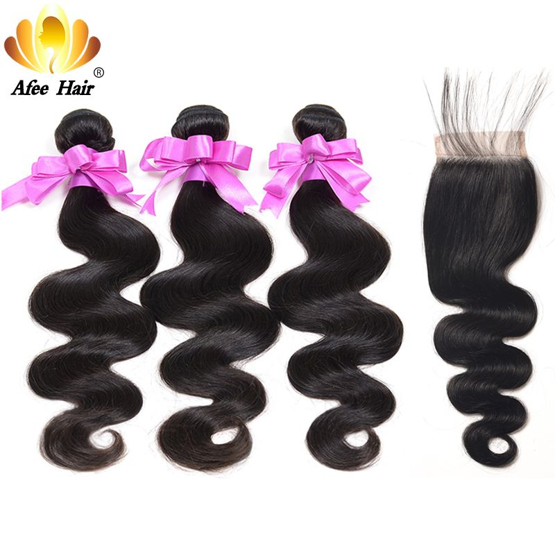 Aliafee 3 Bundles Deal with Closure 4 Pcs/Lot Brazilian Body Wave Non Remy Human Hair Bundles With Closure 4x4 With Baby Hair