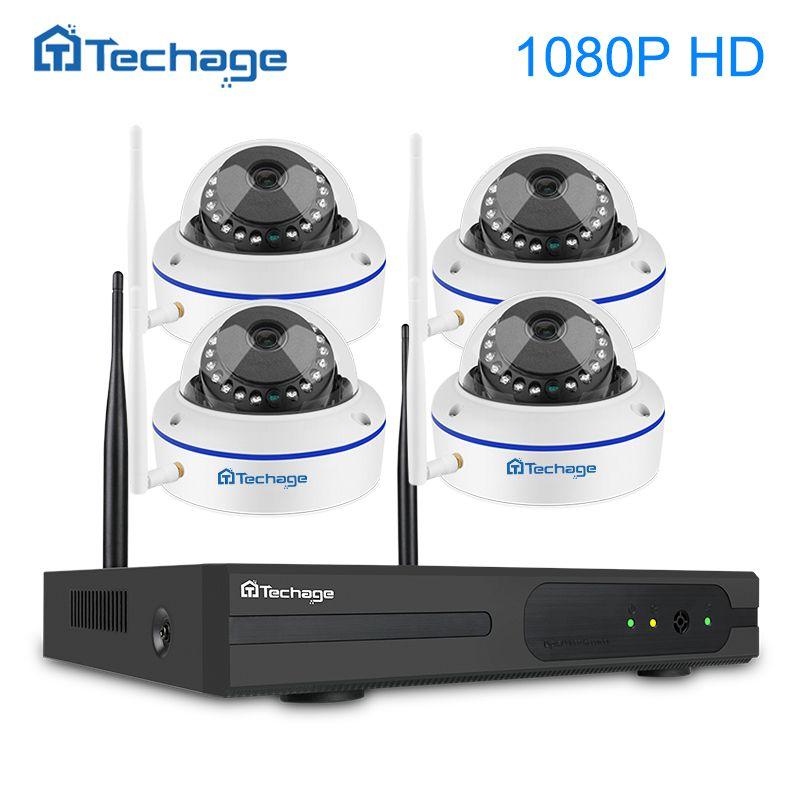 Techage 1080 p Drahtlose CCTV Sicherheit System 4CH 1080 p NVR Kit 2MP VandalProof Indoor Dome Wifi IP Kamera Video überwachung Kit