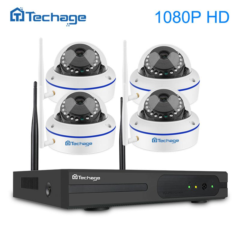Techage 1080P Wireless Security CCTV System 4CH NVR Kit 1080P 2MP VandalProof Indoor Dome Wifi IP Camera Video Surveillance Kit