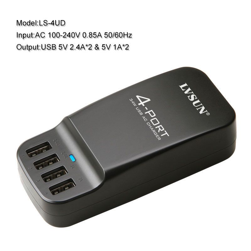 4 Port USB 5 V 2.4A Chargeur de Voyage Pour iPhone 7 6 Plus 5s 5c iPad Samsung Galaxy S6 Edge S4 XIAOMI HUAWEI MEIZU p8 AC Adaptateur
