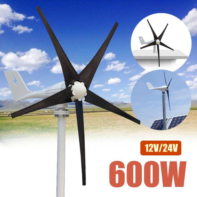 600W 12 V 24 Volt 5 Nylon Fiber Blades Horizontal Wind Turbines Generator Power Windmill Energy Charger Kit Home Black