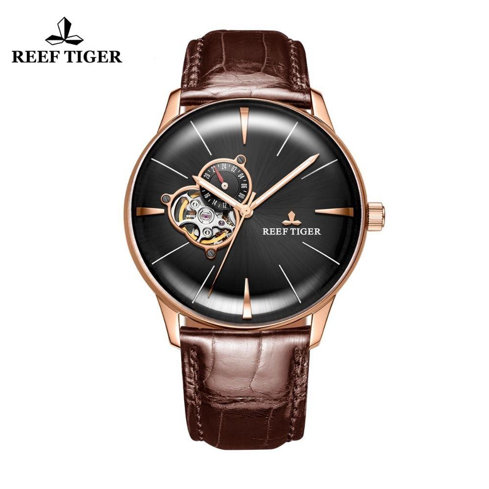 Neue Riff Tiger/RT Luxus Rose Gold Uhr männer Automatische Mechanische Uhren Tourbillon Uhren mit Braun Lederband RGA8239