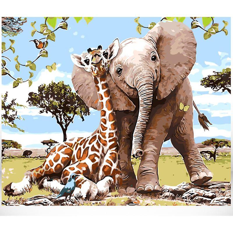 Peinture par numéros bricolage livraison directe 40x50 50x65cm girafe avec éléphant Animal toile mariage décoration Art photo cadeau
