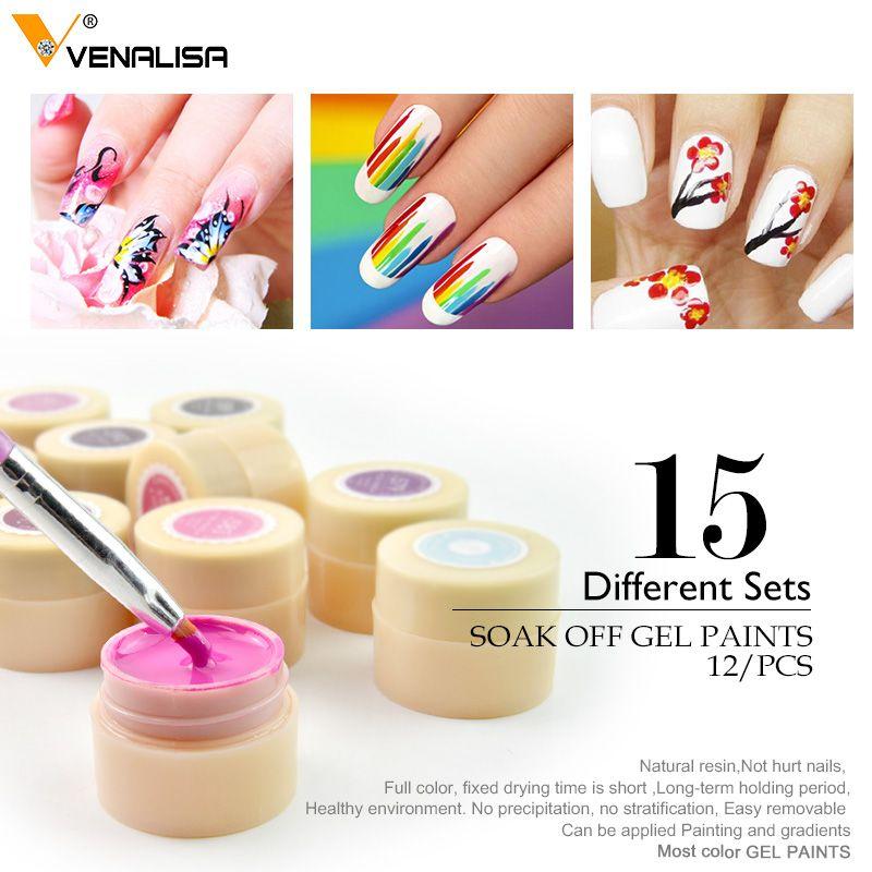 Venalisa New 2019 Manicure Nail Art Tips 180 Color UV LED Soak Off Gel Lacquer Polish Paint Gel Ink UV Gel for nail art design