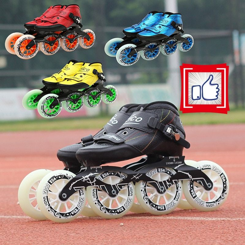 Hot Sale! Carbon Fiber Inline Speed Skates Shoes Racing Street Outdoor Sports KR JP Yellow Red Black Frame 90-110mm Wheel 30-45