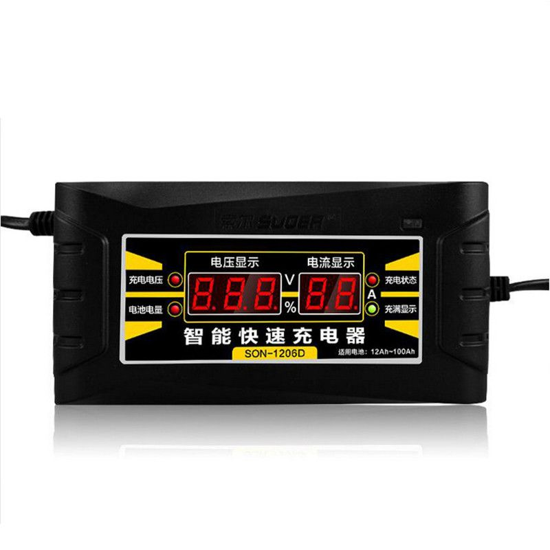 Full Automatic Car Battery Charger 110V/220V To 12V 6A 10A Smart Fast Power Charging For Wet Dry Lead Acid Digital LCD Display